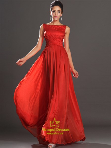 Red Bateau Neck Sleeveless Keyhole Ruched Organza Long Prom Dress
