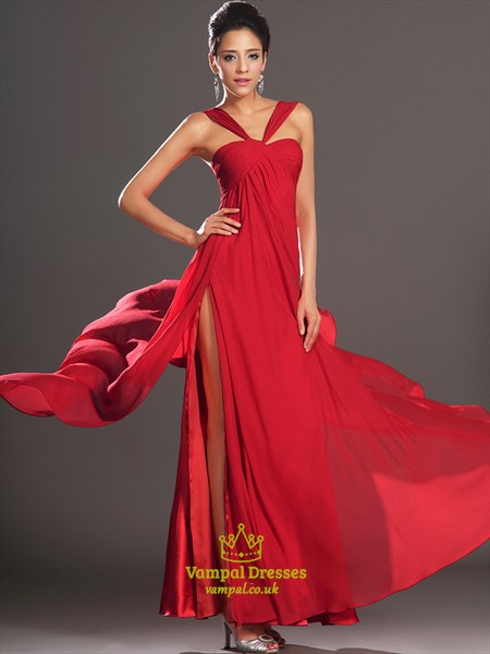 Halter Neck Sleeveless Ruched Chiffon Long Prom Dress With Split