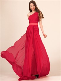 One Shoulder Ruched Sleeveless Chiffon Long Prom Dress With Train