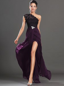 Purple One Shoulder Crystal Lace Top Chiffon Prom Dress With Split