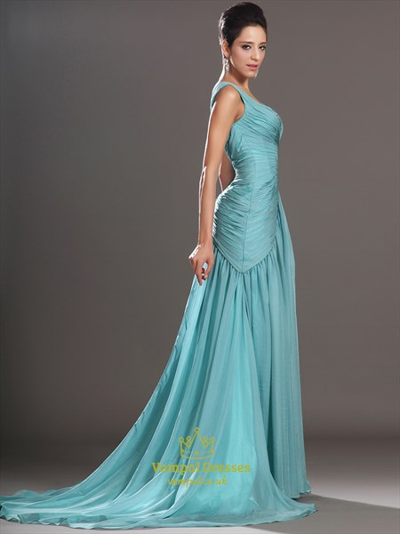Light Blue Square Neckline Beaded Ruched Prom Dress With Train