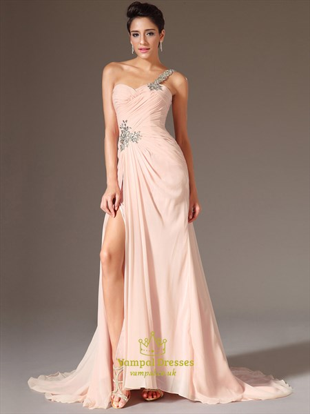 Blush Pink One Shoulder Beaded Ruched Chiffon Prom Dress With Split