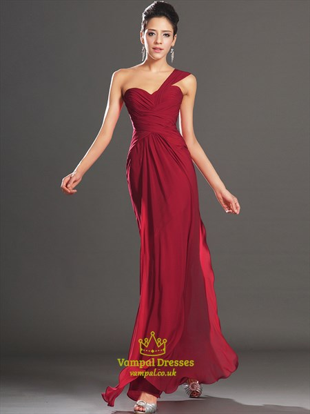 Simple Burgundy One Shoulder Ruched Sleeveless Chiffon Prom Dress