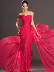 Red Sweetheart Cap Sleeve Ruched Long Sheath Chiffon Prom Dress