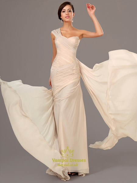 Champagne One Shoulder Sleeveless Ruched Sheath Chiffon Prom Dress