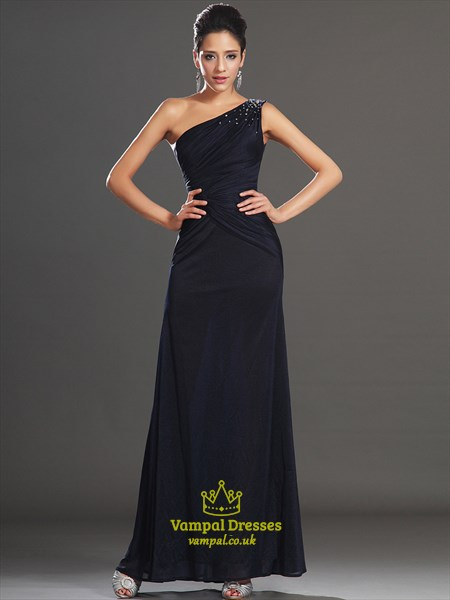 Navy Blue One Shoulder Beaded Ruched Floor Length Chiffon Prom Dress