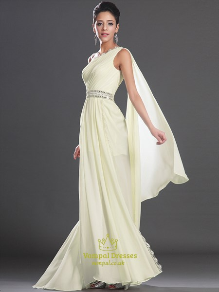 Light Yellow One Shoulder Beaded Long Prom Dress With Cape And Split
