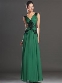 Emerald Green V Neck V Back Beaded Applique Ruched Chiffon Prom Dress