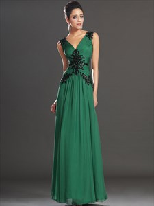 Emerald Green V Neck V Back Beaded Applique Ruched Chiffon Prom Dress