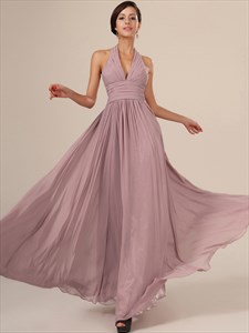 Simple Blush Pink Halter Neck Sleeveless Ruched Chiffon Prom Dress