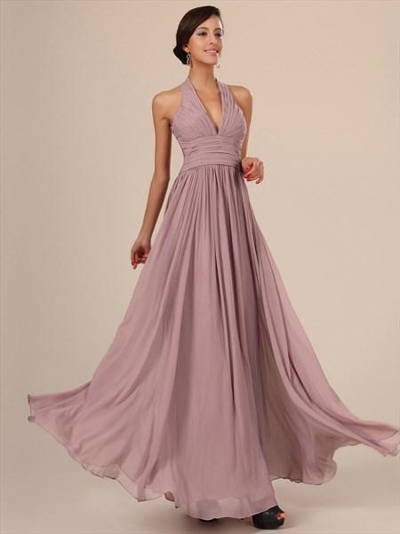 Simple Blush Pink Halter Neck Sleeveless Ruched Chiffon Prom Dress
