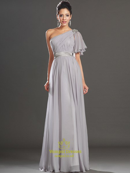 A Line Grey One Shoulder Sleeveless Beaded Ruched Chiffon Prom Dress