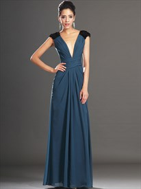 Deep V Neck Sleeveless Sequin Embellished Floor Length Prom Dress