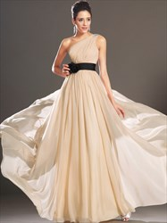 A Line Champagne One Shoulder Sleeveless Chiffon Prom Dress With Belt