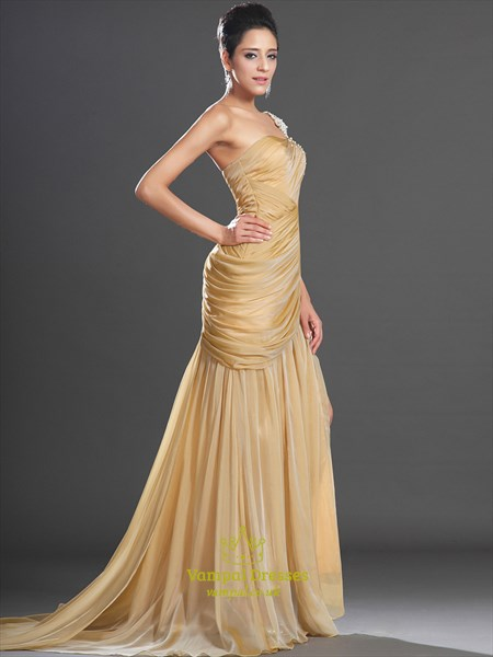 One Shoulder Ruched Beaded Sheath Long Chiffon Prom Dress With Slits