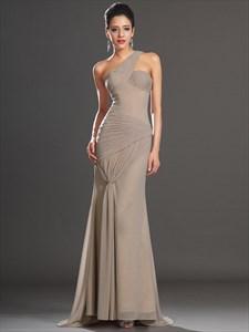 Brown One Shoulder Sleeveless Sheath Floor Length Chiffon Prom Dress