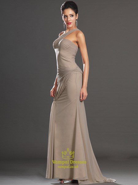 Brown One Shoulder Sleeveless Sheath Floor Length Chiffon Prom Dress