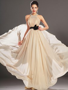 Champagne Halter Neck Beaded Pleated Chiffon Prom Dress With Belt