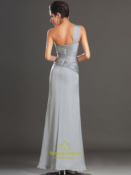 Grey One Shoulder Sleeveless Ruched Sheath Long Prom Dress With Split