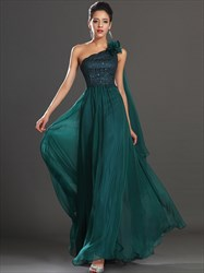 A Line Emerald Green Sleeveless Beaded Chiffon Prom Dress With Cape