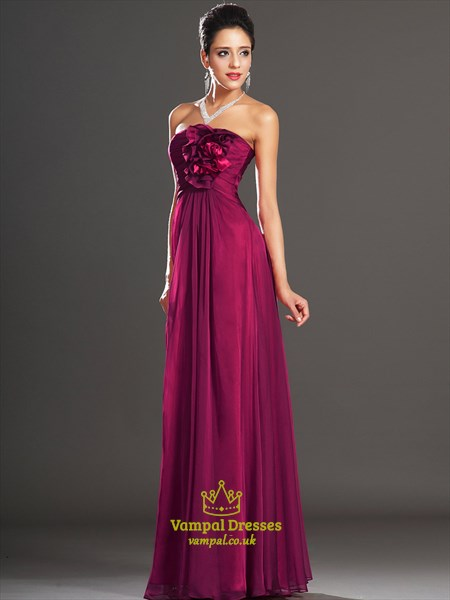 Fuchsia Strapless Sleeveless Ruched Sheath Prom Dresses With Flowers