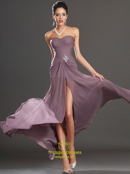 Strapless Sleeveless Crystal Ruched Chiffon Prom Dress With Split