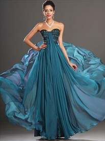 Blue Sweetheart Beaded Pleated Floor Length Chiffon Prom Dress