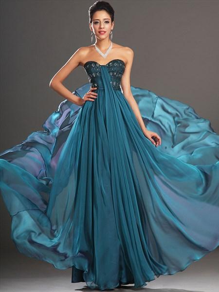 Blue Sweetheart Beaded Pleated Floor Length Chiffon Prom Dress