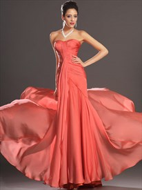 Simple Orange Strapless Sleeveless Ruched Sheath Chiffon Prom Dress