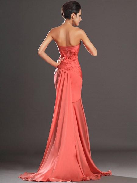 Simple Orange Strapless Sleeveless Ruched Sheath Chiffon Prom Dress
