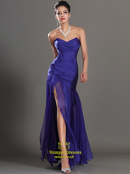 Royal Blue Sweetheart Ruched Bodice Long Prom Dress With Split