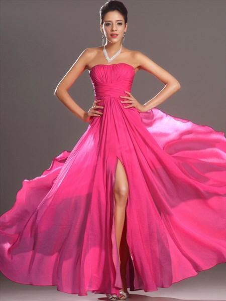 Fuchsia Strapless Sleeveless Floor Length Prom Dress With Split