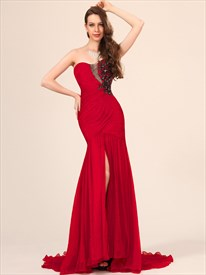Red Strapless Beading Applique Floor Length Chiffon Prom Dress