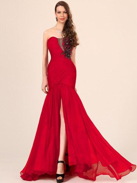 Red Strapless Beading Applique Floor Length Chiffon Prom Dress