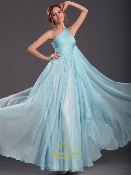 A Line Sky Blue One Shoulder Sleeveless Ruched Prom Dress With Cape