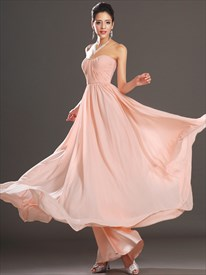 Elegant A Line Blush Pink Sweetheart Ruched Bodice Chiffon Prom Dress