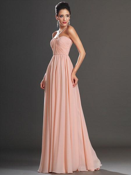 Elegant A Line Blush Pink Sweetheart Ruched Bodice Chiffon Prom Dress