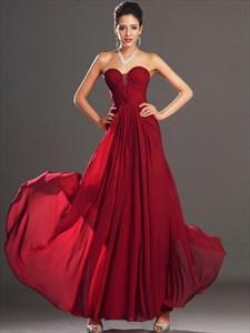Burgundy Sleeveless Beading Ruched Floor Length Chiffon Prom Dress