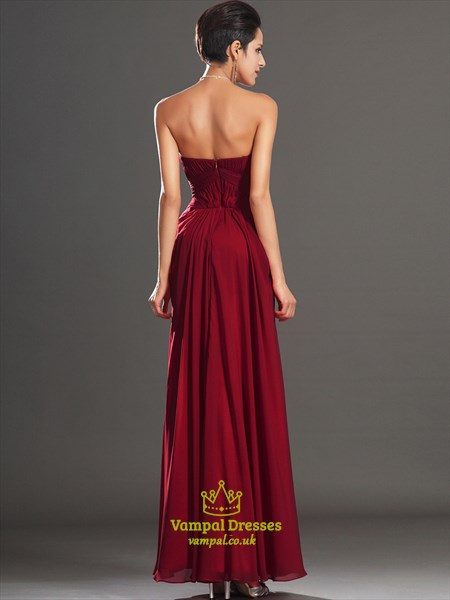 Burgundy Sleeveless Beading Ruched Floor Length Chiffon Prom Dress