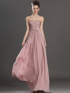 A Line Blush Pink Strapless Sleeveless Ruched Floor Length Prom Dress