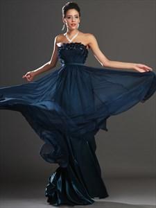Navy Blue Strapless Sleeveless Rhinestone Beaded Chiffon Prom Dress