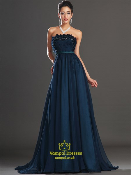 Navy Blue Strapless Sleeveless Rhinestone Beaded Chiffon Prom Dress