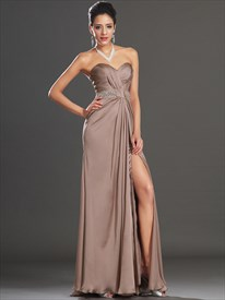 Brown Sweetheart Sleeveless Beaded Ruched Long Prom Dress With Split