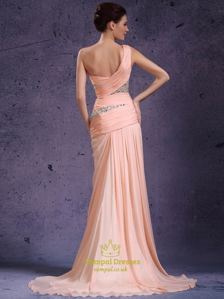 Pink One Shoulder Ruched Sheath Beaded Chiffon Prom Dress With Train