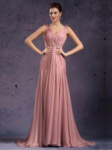 Pastel Pink V Neck Beaded Ruched Empire Waist Chiffon Prom Dress