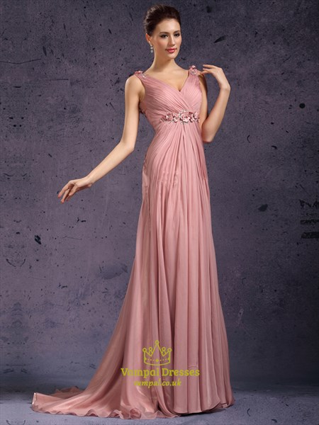 Pastel Pink V Neck Beaded Ruched Empire Waist Chiffon Prom Dress