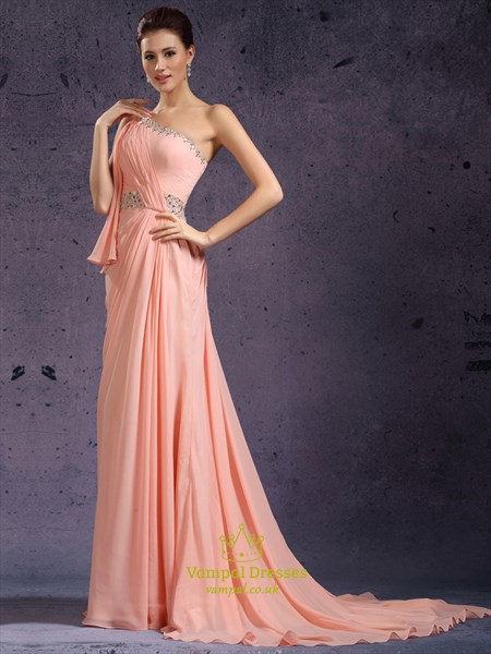 Pink One Shoulder Crystal Beaded Ruched Chiffon Prom Dress With Train
