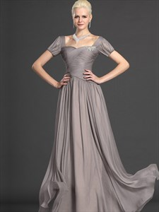 A Line Grey Square Neckline Short Sleeve Crystal Ruched Prom Dress