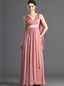 Watermelon V Neck Sleeveless Long Chiffon Prom Dress With Cape
