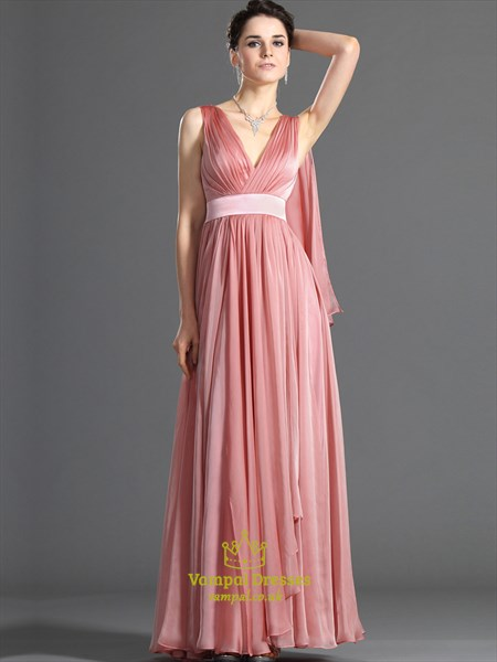 Watermelon V Neck Sleeveless Long Chiffon Prom Dress With Cape